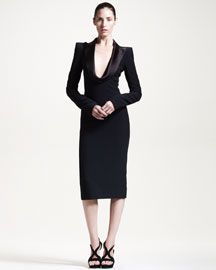 Alexander McQueen Draped-Lapel Dress