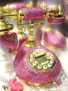 Pink rhinestone phone