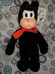 """NWT Vintage 13"""" KRAZY KAT Plush Toy Doll Black Cat King Features George Herriman Very Rare Hard To Find Stuffed Animal"""