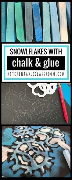 """This chalk & glue process is like magic. It's colorful, graphic, & the results are always """"wow!"""" This chalk snowflake project will brighten any winter day!"""