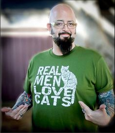 Jackson Galaxy -  Real Men Love Cats - Mens tshirt - American Apparel five colors. $24.00, via Etsy.