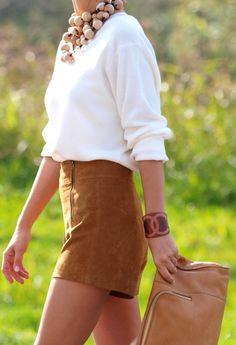 suede shorts + big accessories