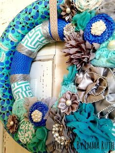 Double Wrapped Wreath in Blue & Teal made by Wreaths By Emma Ruth