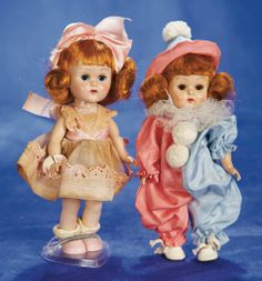 "8"" (20 cm.) Two Red-Haired Ginny Dolls in Original Costumes by Vogue 300/500"