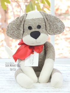 Sock Monkey Doll, Puppy Dog - An Original Sock Monkey Bizz Design.  **Made to order with a creation time period of 3-5 business days.  Due to