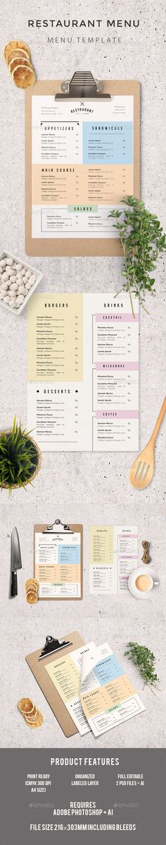 A reliable restaurant menu blends a well-planned layout, well-written descriptions and correct pricing for food expense ration. Carta Restaurant, Restaurant Bistro, Restaurant Menu Template, Restaurant Menu Design, Restaurant Branding, Hotel Menu, Bistro Food, Cafe Menu Design, Food Menu Design