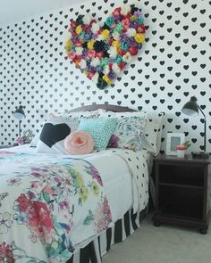 Polka Heart Wall Stencil Polka Hearts Wallpaper Wall Stencil by Royal Design Studio for DIY Girls Room and Nursery Decor - Painted by Pear Design Studio . Diy Home Decor For Teens, Room Decor For Teen Girls, Girls Room Design, Teen Girl Bedrooms, Little Girl Rooms, Diy For Girls, Paint For Girls Room, Colorful Girls Room, Tween Girls Bedroom Ideas