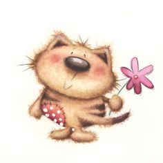 cat illustration by Sarah Pitt Baby Animals, Cute Animals, Cute Clipart, Cute Friends, Cat Paws, Watercolor Animals, Cat Drawing, Cute Images, Kawaii Cute