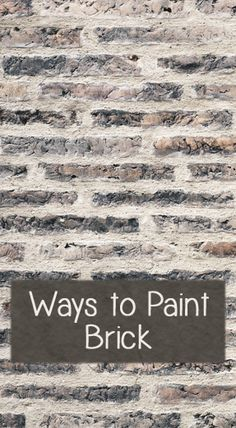 Ways To Paint Brick If you have brick around a fireplace or one of your walls is brick and you are looking for a way to update the look. Here are a few different styles you can paint it: Solid Color Paint You can just pick a color and paint it with a Painting Tips, Painting Techniques, Paint Brick, Masonry Paint, Painted Brick Walls, Painted Brick Fireplaces, Black Brick Fireplace, Brick Porch, Faux Walls