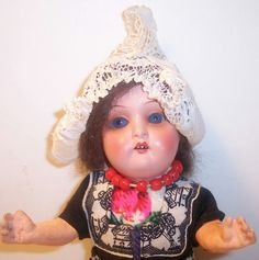 VINTAGE COMPOSITION DOLL OPEN MOUTH SLEEPY EYES PAINTED FACE HOLLAND DUTCH 17/0a | eBay