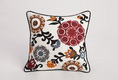 "Square Suzani Cushion (infill included)    Product Information  Size: 18"" X 18""  Material: Cotton  Color: White"