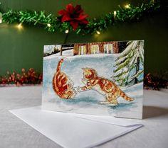 Kittens spelen in sneeuw kerstkaart seizoensgebonden kaart