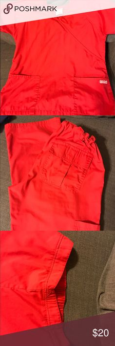 Red butter soft scrub set Top Medium. 2 pairs of pants both size Small both flare legs. Worn a few times. Great condition Butter Soft Other