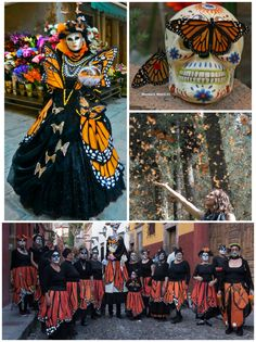The first monarchs arrive at their winter home in Mexico each fall by the first of November. The Mexican holiday Day of the Dead (Dia de los Muertos) also occurs when the monarchs appear. According to traditional belief, the monarchs are the souls of ancestors who are returning to Earth for their annual visit. Vintage Witch, Vintage Halloween, Halloween Halloween, Halloween Makeup, Halloween Costumes, Sugar Skull Makeup, Sugar Skull Art, Catrina Costume, Mexican Holiday