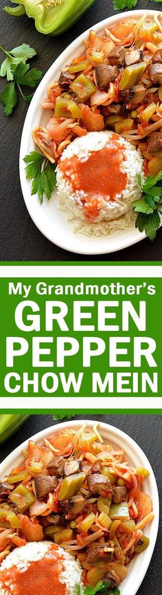 Omit the oil and use rice instead of noodles for a wslf-friendly version. My Grandmother's Green Pepper Chow Mein
