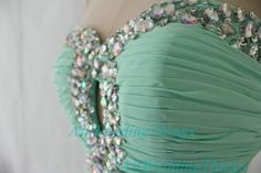Long green mint prom dress strapless on Etsy, $142.00