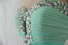 Long green mint prom dress strapless on Etsy, $142.00