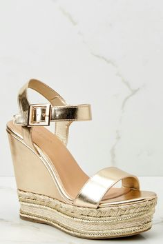 5311529e938 Bold Statement Gold Espadrille Wedges- 44.00