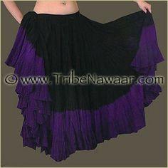Tribe Nawaar Black Top Violet Hand Dyed 25 Yard Cupcake Skirt. Premium quality fluffy tribal bellydance skirt for ATS, ITS, flamenco, folkloric dances, Renaissance Festival, Burning Man or gypsy inspired costumes. Tiered skirt with ombre black to purple shades is perfect for spinning and skirt tucking