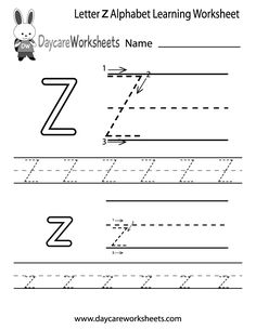 Preschoolers Can Color In The Letter Z And Then Trace It Following Stroke Order With
