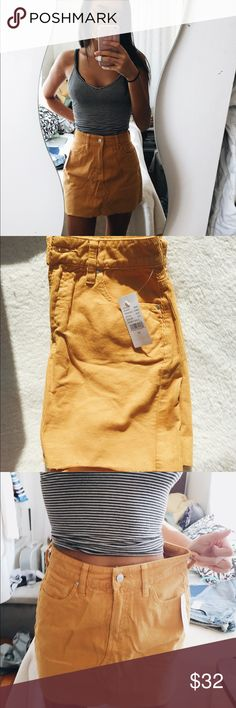 Pacsun Yellow Corduroy Skirt NWT Mustard is IN!! I'm in love with this skirt and its color, it's just too big on me:( Super soft but structured material, ribbed in classic corduroy fashion. High waisted with light fraying at the bottom, sz 24 but best fits a 26 I would say. I am a 23 waist 105lbs for reference  Let me know if you need more info or measurements on anything in my closet!! Open to an offer, I'll counter or accept! PacSun Skirts Mini