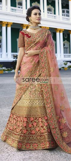 Fab Red And Beige Color Embroidered Lehenga Choli Shop For lehenga choli with customizable blouse Online in India at VJV Fashions Available in Exciting Design Lehenga Wedding, Indian Bridal Lehenga, Indian Gowns, Bridal Mehndi, Bridal Outfits, Bridal Dresses, Simple Lehenga Choli, Lehenga Choli With Price, Ghagra Choli