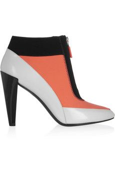 KENZO Leather and neoprene ankle boots Short Heel Boots, Leather High Heel Boots, Leather Ankle Boots, Heeled Boots, Bootie Boots, Ankle Booties, Kenzo, Summer Boots, Fall Boots