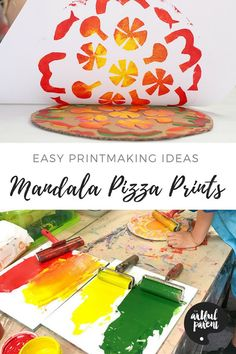 Make these mandala pizza prints today using craft foam on a cardboard base! This is an easy printmaking idea for kids that allows them to make print after print. #artsandcrafts #printmaking #mandalas #kidsactivities