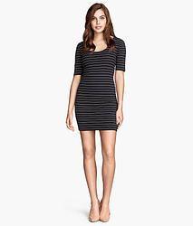 H&M Black Stripe Jersey Dress