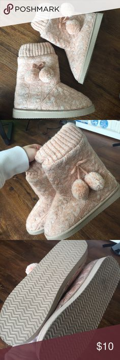 Sweater Booties (like UGGS) Worn twice indoors (great condition), soft fabric inside, soles need broken into (bcuz barely worn), would keep but doesn't match enough w/ my winter wardrobe :( Wet Seal Shoes Ankle Boots & Booties