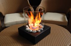 Eco-Feu Love-Box Tabletop Fireplace in Matte Black - Tabletop Fireplaces, Fireplace Tools, Fireplace Design, Modern Fireplaces, Outdoor Fireplaces, Fireplace Ideas, Easy Fire Pit, Small Fire Pit, Fire Pit Chairs