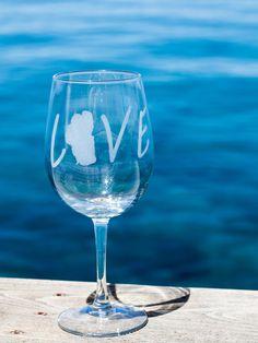 Tahoe Love Wine Glasses by GlassyDesignsTahoe on Etsy.... the best!