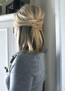 Easy Half Updo For Medium Hairstyles 214x300 Easy Half Updo For Medium Hairstyles