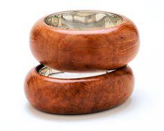 silver lined wood bracelets
