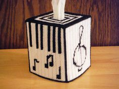 Music Lover Tissue Box Cover plastic canvas by ShanaysCreation