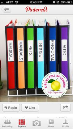Organize binders...Interesting idea: Color-code by PTO, PTA committee?