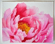 Watercolor painting ~ Peony ~ Shows basic wet on dry, wet on wet, blending and negative space painting techniques.