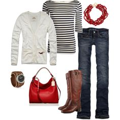 love the boots, red pop of color, and the black & white shirt.
