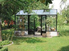 Växthus Mur Maxi 4 paket, 43 cm mur, 14,1 m², lackerat, dubbeldörr