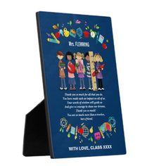Thank You Teacher /  Teacher Appreciation Day / Teacher Appreciation Week / Graduation Gift Plaque for Teachers with a customizable Teacher's name and text, in the artofmairin store at zazzle.com