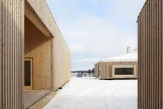 House Riihi by OOPEAA shelters a courtyard from wintery gusts Timber Slats, Timber Cladding, Exterior Cladding, Interior Design Images, Interior Design Boards, Wood Architecture, Residential Architecture, L Shaped House, Wooden Facade