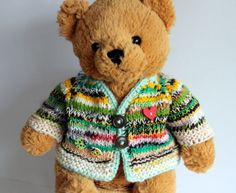 Jacke-fuer-ca-40-50cm-Baeren-Puppen-Kleid-Strickjacke-Clochard-Style-vintage-NEU