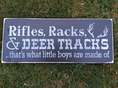 Rifles Racks Deer Tracks-hand Painted Rustic Wood Sign-distressed-wall…