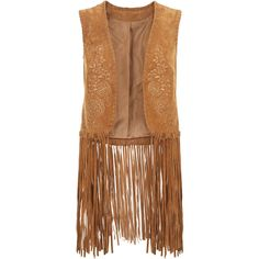 Vandana Suede Waistcoat ❤ liked on Polyvore featuring outerwear, vests, bohemian vest, embroidered vest, floral vest, suede fringe vest and suede vest