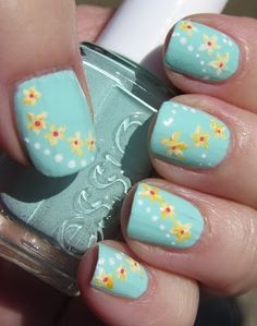Marias Nail Art and Polish Blog: Mint pastel flowers - Pastel mint blomster