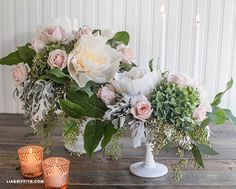 Make Flower Centerpieces From Crepe Paper Peonies and Real Flowers