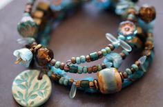 Sea Blue Bracelet  Bohemian Wrap Bracelet  by BeadSoupJewelry, $52.00
