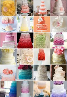 25 Ombre & Ruffle Wedding Cake Wonders - A selection of our best Ombre and Ruffle Wedding Cakes for your enjoyment. Bon appetit!  #ombre #ruffle #wedding #cake