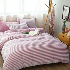 Brief Style Stripe Soft Cashmere Duvet Cover Winter Bed Sheet Pillowcases  Thick Warm Flannel Bedding Set