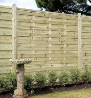 Elite St Esprit Decorative Wooden Fence Panel. An attractive pressure treated interwoven style wooden fence panel available in 1.2m & 1.8m heights from £52.79. #DecorativeFencePanels #GardenFencePanels #AWBS
